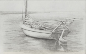 "pencil drawing of Abaco sailboat 5.5"" x 8.5"" by Greg Farrington 2012"
