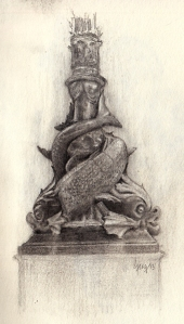 "This is a sketch of a ""Dolphin Lamp"". They are Victorian lamps on the Thames embankment in London. The fish are actually Sturgeon fish."